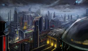 A view over Penta City by Brollonks