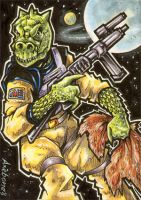 Bossk sketch card commission by Axebone