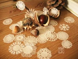 Doily Snowflakes by MrsCreosote
