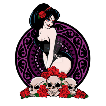 Day of the Dead Pin Up Girl by SimonArtGuyBreeze