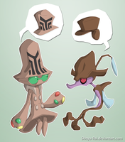 Mysterious hat monsters by Shoyu-Rai