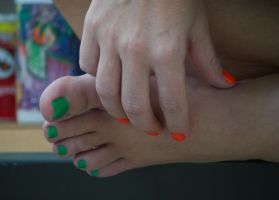 Smurfette's Toes in Green 8 by Feetatjoes