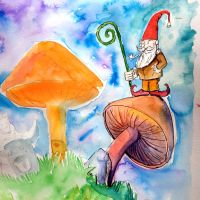 Gnome on a mushroom... by Jcoon