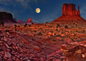 Monument Valley-Moonrise by Rick3-14
