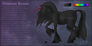 Delmarian Unicorn Ref Sheet by MadMeeper