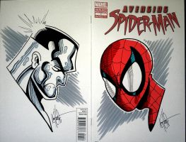 Spider-man and Colossus sketches with colours by kstewart86