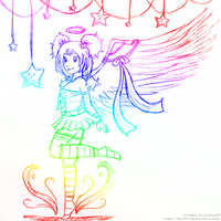 Rainbow Angel Sketch by izka197