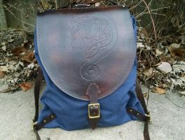 Celtic Leather Backpack by FolkoftheWood