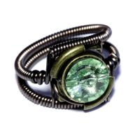 Steampunk Ring - Chrysolite Green Crystal by CatherinetteRings