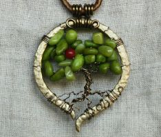 A Single Fruit - wire wrapped Tree of Life pendant by Shendorion