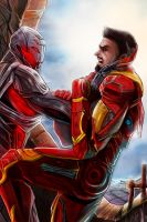 Iron man and Ultron by RossoWinch
