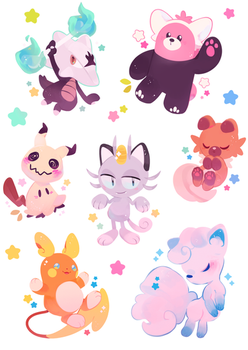 Alolan Stickers by ieafy