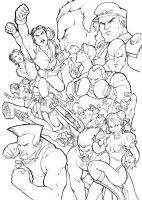 Street Fighter poster BW by ComfortLove