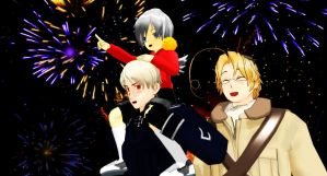 APH: Prussia x Canada - Happy New Year by Maru-sha