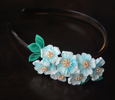 Blue Sakura Headband by hanatsukuri