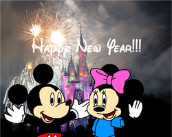 Mickey and Minnie wish Happy New Year by MarcosLucky96