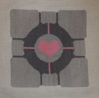 Companion Cube Cross Stitch by TheSkandranon