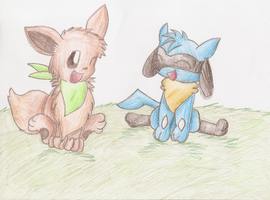 Eevee and Riolu by ShayminLover101