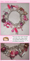 Pink and white charm bracelet by fairy-cakes