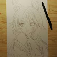 Pencil lines for Ahri drawing ^^ by HonzikSuchy