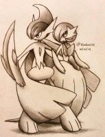 Mega Gallade and Mega Gardevoir by Bluekiss131