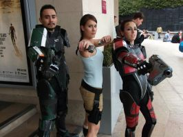 Lara Croft and the shepards from Mass Effect by IXISerenityIXI
