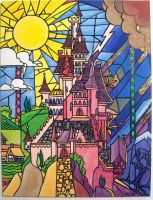Beauty and the Beast - Painted stained glass by Emmalyn