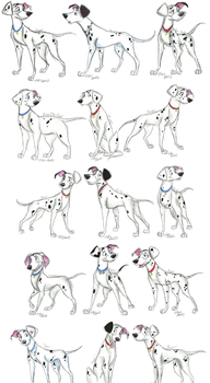 101 Dalmatians Grown-Up Pups ALL by Stray-Sketches