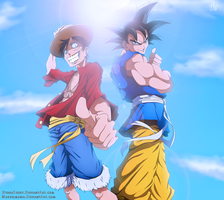 Goku and Luffy by hyugasosby