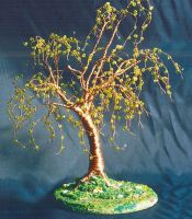 Elm on Lawn - Beaded Wire Tree by SalVillano