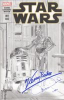 Star Wars - R2-D2 - C-3PO Sketch Cover - Marvel by DenaeFrazierStudios