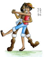 OP Luffy and Usopp dance by Popcorni