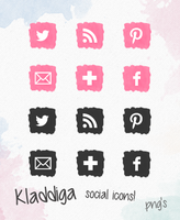 Free watercolor icons pink & black by TasnimEz
