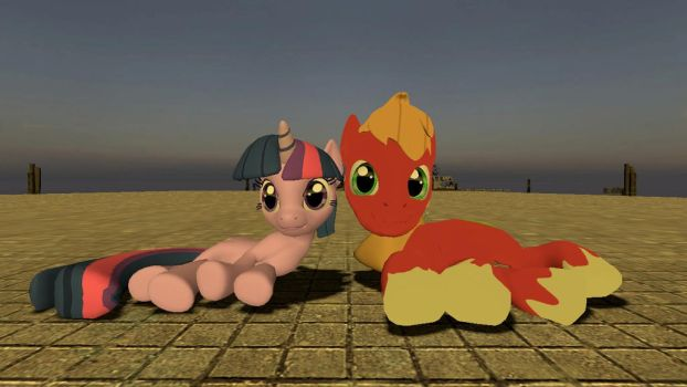 Twilight and Big Mac under the sunset (Front) by kwark85