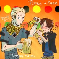 Pizza + Beer by hielorei