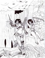 Yuffie vs. Jungle Queen Inked by cartoonwedgielover