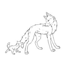 RQ- Mother and son lineart by NAMEY-D0G