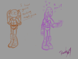 Donnie and Mikey Doodles by penguinsfan90