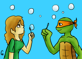 TMNT-Bubbles Art Trade by FlashyFashionFraud