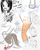 Sketch dump and paw practice XD by Whimsy11