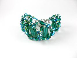 Silver Plated Vintage Woven Green Crystal Bracelet by DryGulchJewelry