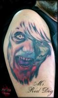 Zombifying 1st session by Reddogtattoo
