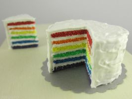miniature cake of rainbow by FatalPotato