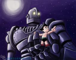 Astro Boy and The Iron Giant by ninjatron