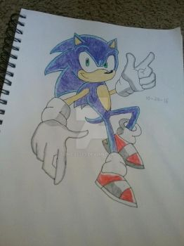 Sonic drawing (shaded) by Sonic33333