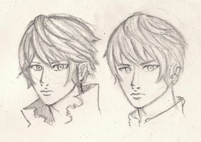 3 min Sketch - Qayin and Havel Faces by BunnyVoid