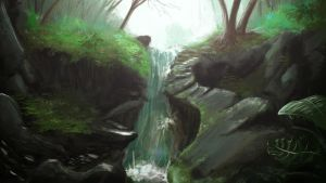 Jungle Waterfall (Mended) by Renox123