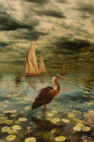 The Heron -sepia- by Alegion