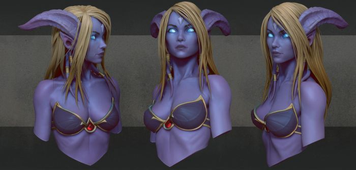 Draenei bust 1 by slipgatecentral