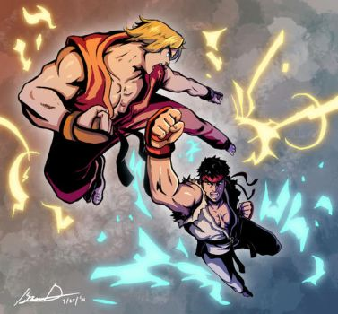 Ryu vs Ken by badokami